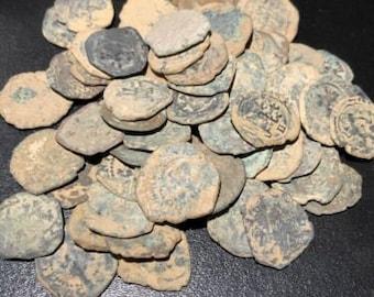 """1600s Spanish /""""Lion /& Castle/"""" Copper 8 M Cob Pirate Treasure Coin Medieval"""