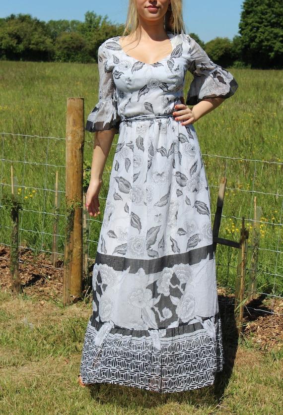 Vintage Stunning 1970s Maxi Prairie Dress Women's