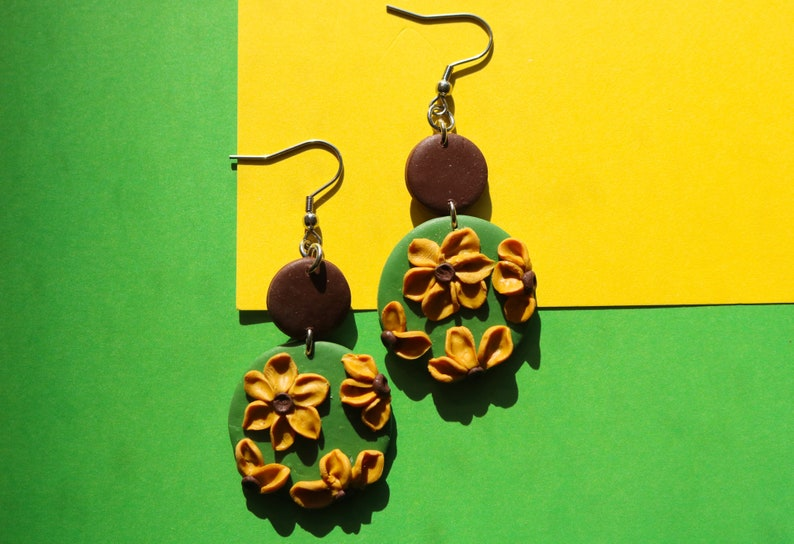 Polymer Clay Earrings  Statement  Unique  Green  Yellow  Floral