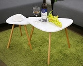 Set of 2 - Nesting Coffees End Tables Modern Decor Triangle Side Table Occasional Tea Table for Living Room ( White Or Grey )