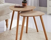Set of 2 - Nesting Coffees End Tables Modern Decor Triangle Side Table Occasional Tea Table for Living Room ( Oak )