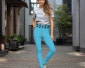 PLUS SIZE LEGGINGS - Designer Leggings - Leaves Print Blue Yoga Legging - Yoga Lover Gift - Fitness Yoga Pants - Waisted Polyester Leggings