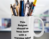 Belgian warning label mug