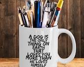 Dog loves you more mug