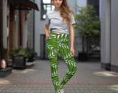 Palm Tree Leggings, Tropical Yoga Leggings, Stylish Fitness Leggings, Yoga Pants Women, Workout Leggings, High Waisted Sports Leggings