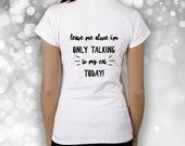 Cat lover t-shirt talking to cat funny humor joke gift ideal