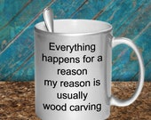 Wood carving mug