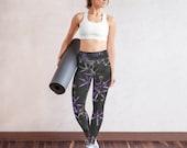 Purple Flower Yoga leggings, Workout Leggings, Printed Floral Leggings, Athletic Leggings, High Waist Leggings, Running Sports Leggings