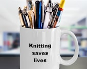 Knitting saves lives cup