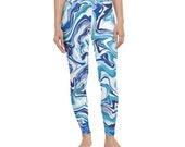 MARBLE LEGGINGS - WORKOUT Pants - Designer Blue Marble Print Leggings - Soft Comfy Casual Wear Waisted Leggings - Women Fitness Yoga Pants