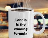 Tennis Coffee Mug, Tennis Coffee Cup, Tennis is the Winning Formula Tea Mug, Tennis Player Mug, Tennis Coach Mug, Tennis Lover Mug