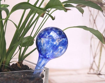 1Pcs Xiaopeng Self-Watering Stakes,Self Watering Aqua Globes Hand-Blown Mini Glass Automatic Plant Waterer Bulbs Flower Decorative Design,About 26x8CM