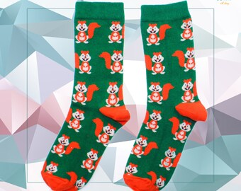 Squirrel Lover Animal Socks Squirrel Socks Gift for Him  Her Eco Friendly Socks Made in USA
