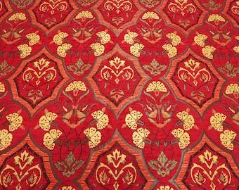 Upholstery Fabric, Turkish Fabric By the Yards, Turkish Red Carnation Pattern Fabric, Chenille Fabric, Bohemian Fabric, Jacquard Fabric