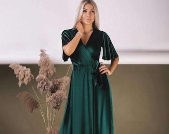 Emerald Green Velvet Dress, Flutter Sleeve Long Dress, Wrap Maxi Dress, Bridesmaid Wrap Gown, Velvet Bridesmaid Dress