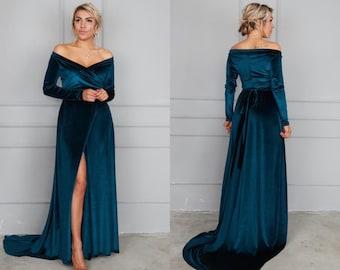 Dark Teal Velvet Dress with Train, off Shoulder Velvet Dress, Velvet Maxi Dress, Bridesmaid Gown with train, Velvet Bridesmaid Dress,