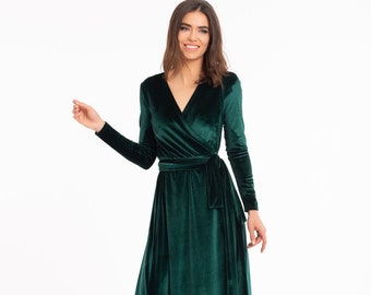 Emerald Green Velvet Dress, Long Sleeve Velvet Dress, Wrap Maxi Dress, Bridesmaid Wrap Gown, Velvet Bridesmaid Dress