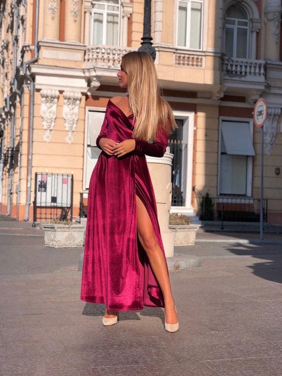 Burgundy Velvet Dress off Shoulder Velvet Dress Velvet Maxi | Etsy