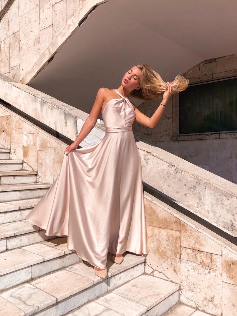 Boho Gown Formal Dress Beach Wedding Dress Bridesmaid Maxi Dress Emerald Green Silk Dress Boho Maxi dress Prom Dress