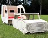 Rabbit Caravan Litter Tray and Hay Feeder and mini motor car bundle - house hide hideaway furniture pet bunny small pet - cute gift idea