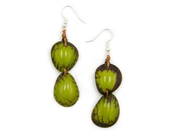 Debbie Fashion Earrings Tagua Nut Sustainable Eco Friendly Jewelry Vegetable Ivory Wooden Lightweight Boho Fashion Statement Accessories