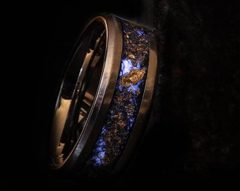 Meteorite Ring - Tungsten Ring gold leaf - Wedding glow ring - All sizes - Wedding Band - couples promise ring - Anniversary gift