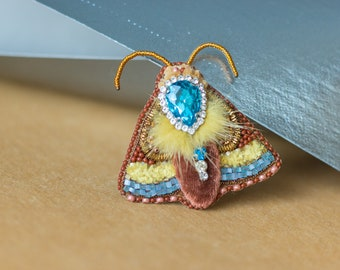 Brooch blue moth, insect on a pin, brown moth , nature jewelry