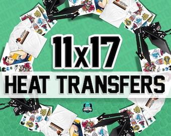 Custom 11x17 Full Color Heat Transfers Designs Ready To Press