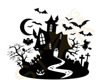 Haunted House Svg Etsy