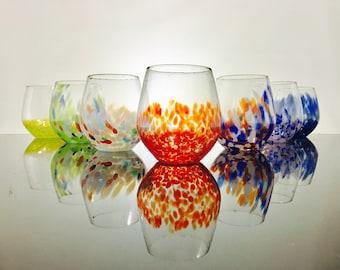 Cheer Series Stemless Wine Glass, blown glass, handmade, barware