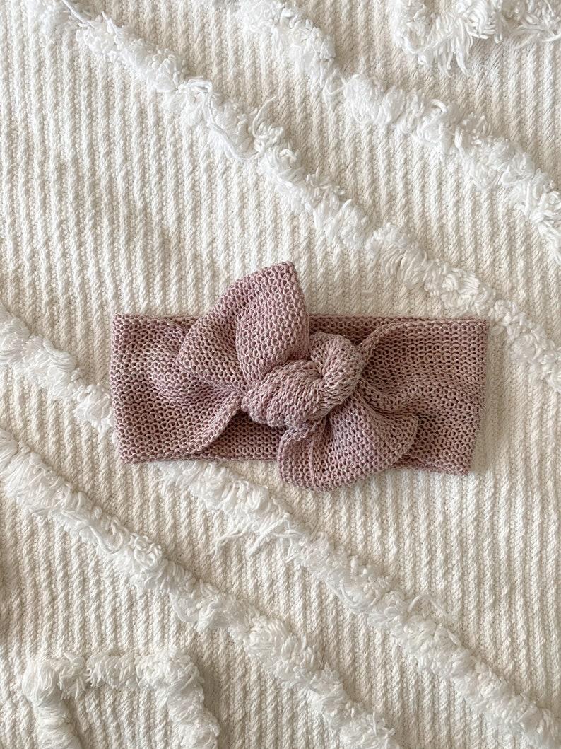 twist headwrap,baby headband bows for baby girls baby headwrap Mauve /& silver sweater headwrap tie knot headwrap bows for girls
