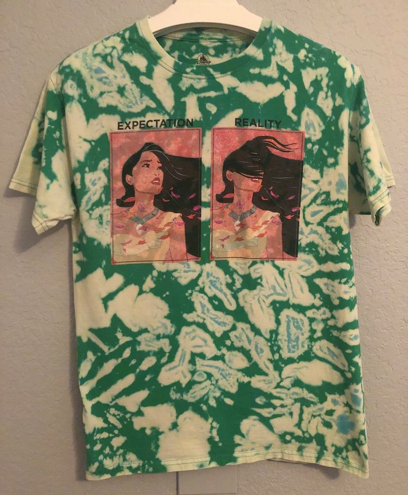 Reality Disney Parks Short-Sleeved T-Shirt Bleach Dyed Pocahontas Expectation vs