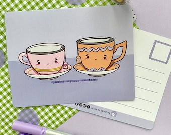 Romantic Card All I Want To Do Is Have Tea With You Cute Adorable Kawaii Sentiment paper Valentine made in Canada Toronto teacup china heart