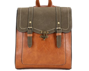 Blu Vegan Leather Backpack Personalized Leather Flapover Backpack Monogrammed Leather Convertible Backpack