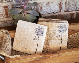 Animal Coasters Single Rustic Natural Marble Stone Coasters by Stone Rebellion
