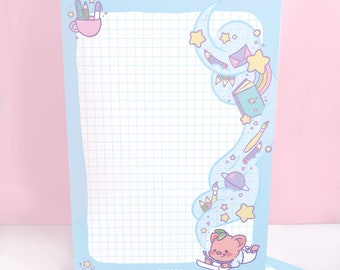 Pigleaf Imagine A5 Notepad ⋰ 50 Sheets ⋰ Stationery Notepad Letter Paper ⋰ Lined A5 Stationary Pad ⋰Kawaii Pad ⋰ Letter Paper ⋰ Penpal Paper