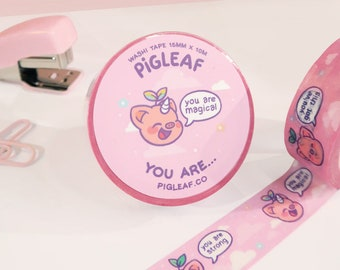 Pigleaf You Are... Washi Tape⋰ Kawaii Washi Planner Tapes ⋰ Cute Pig ⋰ Kawaii Stationery ⋰Illustrated Masking Tape ⋰Feel Good Positive Washi