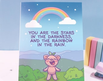 Pigleaf You Are The Stars Greeting Card ⋰ Greeting Card ⋰ Friendship Greeting Card⋰ Kawaii ⋰ Feel Good Greeting Card  ⋰ Birthday Card