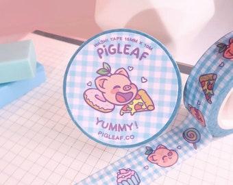 Pigleaf Yummy! Washi Tape ⋰ Kawaii Washi Planner Tapes ⋰ Cute Pig Favorite Food ⋰Kawaii Stationery ⋰Illustrated Masking Tape ⋰Checkers Washi