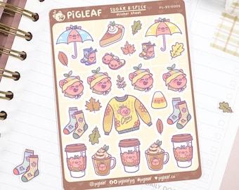 Pigleaf Rainy Days Planner Stickers ⋰ Cute Pig Kawaii ⋰ Stickers ⋰ Autumn Stickers ⋰ Fall Stickers ⋰ Planner Stickers ⋰ Sticker Sheet