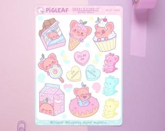 Pigleaf Sweet & Kind-y Planner Stickers ⋰ Cute Stickers ⋰ Selflove Stickers ⋰ Candy  ⋰ Pastel Stickers ⋰ Planner Stickers ⋰ Sticker Sheet