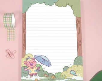 Pigleaf Rainy Days A5 Notepad ⋰ 50 Sheets ⋰ Stationery Notepad Letter Paper ⋰ Lined A5 Stationary Pad ⋰ Letter Paper ⋰ Penpal Paper