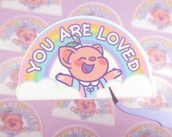 Pigleaf I Believe In You WATERPROOF Sticker  ⋰ Stickers ⋰ Cute Pig Kawaii ⋰ Stickers ⋰ Selflove Stickers ⋰ Selfcare Stickers ⋰ Pastel ⋰ Cute