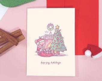 Pigleaf Hap-pig Holidays Greeting Card ⋰ Kawaii Holiday Card ⋰ Christmas Greeting Card ⋰ Greeting Card ⋰ Happy Holidays ⋰ Santa ⋰ Gifts