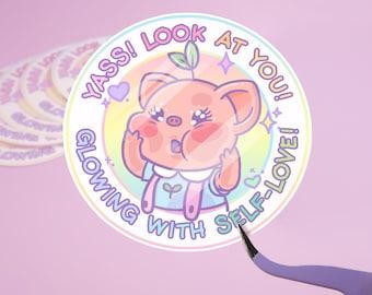 Pigleaf Glowing With Self-Love Sticker  ⋰ Stickers ⋰ Cute Pig Kawaii ⋰ Stickers ⋰ Selflove Stickers ⋰ Selfcare Stickers ⋰ Pastel ⋰ Self-love