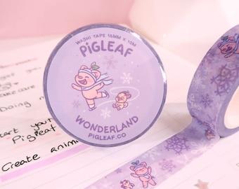 Pigleaf Winter Wonderland Washi Tape ⋰ Kawaii Washi Planner Tapes ⋰ Cute Pig ⋰ Kawaii Stationery ⋰ Illustrated Masking Tape ⋰ Holidays