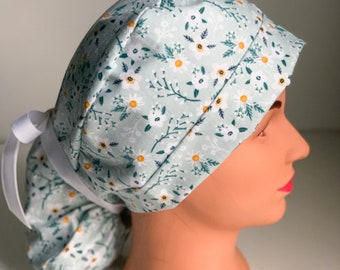 Spring Flowers in Blues Women\u2019s Reversible Scrub Cap Bouffant Style with Long Fabric Ties