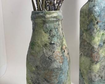 Decoupage Milk Bottle Vase - Medium