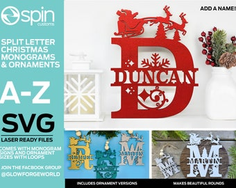 Christmas Theme Split Letter Monograms and Ornaments - A-Z - Digital Laser Cut file