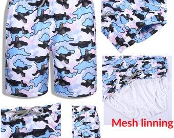 Flamingo Collage Mens Board Shorts Swim Mesh Lining and Side Pocket